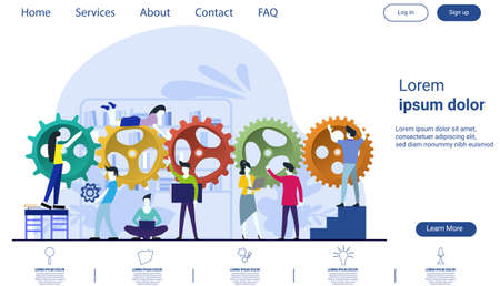 Businessman team  and Lady Brainstorming with cog  - flat design creativity  Modern design Idea and Concept Vector illustration Infographic template.