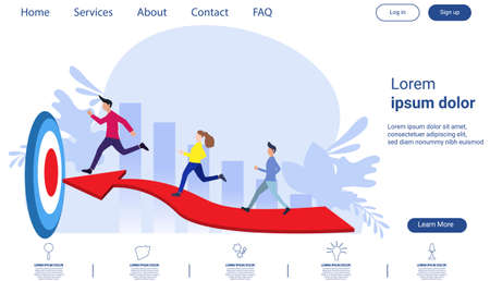 Businessman team  and Lady  running to target flat design creativity  Modern design Idea and Concept Vector illustration Infographic template.