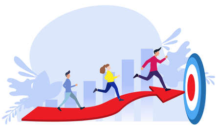 Businessman team  and Lady  running to target flat design creativity  Modern design Idea and Concept Vector illustration.