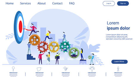 Businessman team  and Lady  running to target with Powered cog flat design creativity  Modern design Idea and Concept Vector illustration Infographic template.