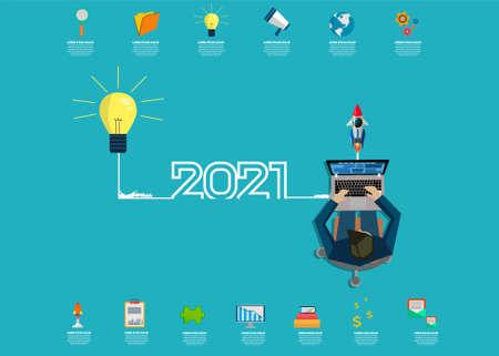 creative light bulb idea 2021 new year business  -  brainstorm ideas concept, Vector illustration modern design layout template  Illustration