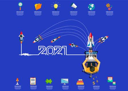 businessman working on Laptop,rocket  with  creative light bulb idea 2021 new year business  -  brainstorm ideas concept, Vector illustration modern design layout template Illustration