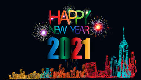 Happy new year  2021 text - Sketch Building In The City Clip Art, Vector Images & Illustrations with Colorful.