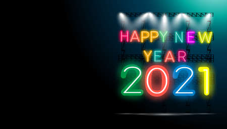 Happy new year  2021 text - Neon style Colorful  -  modern Idea and Concept Vector illustration. Illustration