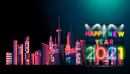 Happy new year  2021 text - Neon style Colorful - Building in the city -  modern Idea and Concept Vector illustration.