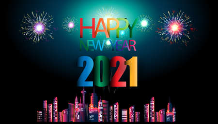 Happy new year  2021 text- Fireworks Colorful  - Building in the city- background Vector illustration.
