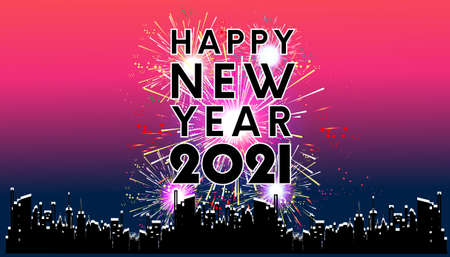 Happy new year  2021 text  black - Fireworks Golden - Building In The City- vector illustration.