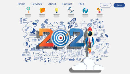 Creative business thinking 2021,darts shoot Into crotch for success,set icon, Plan  think analyze creative work, Idea concept vector illustration Infographic template.
