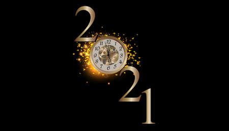 Happy new year 2021 -  illustration Vector clock gold  glitter  elegant luxury gold  midnight with cog Illustration
