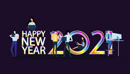 Young people  Communicate  social media  Business/Finance Text  Happy New Year 2021 logo  -  Creativity modern Idea and Concept illustration vector.