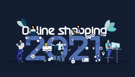 Young people  Communicate  social media  Business/Finance Text Online shopping 2021 -  Creativity modern Idea and Concept illustration vector. Illustration