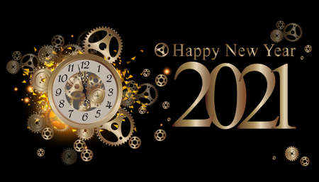 Happy new year 2021 text -  illustration Vector clock gold  glitter  elegant luxury gold  midnight with cog