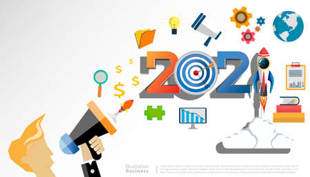 Businessman speak megaphone  with 2021 new year text, Light bulb,darts shoot Into crotch for success,set icon,modern Idea concept vector illustration Infographic template.