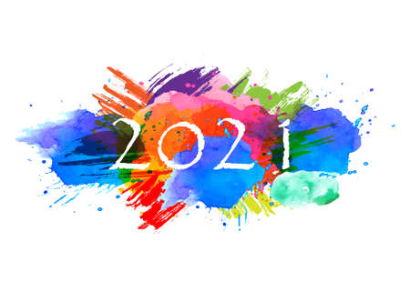 2021Text -  with Background Colorful watercolor stains collection -Vector Illustration