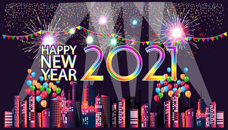 Happy new year  2021 text with Building in the city,Fireworks Colorful, balloon, Colorful flags  - background Vector illustration. Illustration