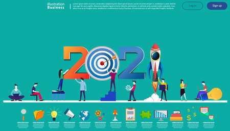 Man and woman think analyze creative with 2021 new year text, Light bulb,darts shoot Into crotch for success,set icon,drawing charts data,modern Idea concept vector illustration Infographic template.
