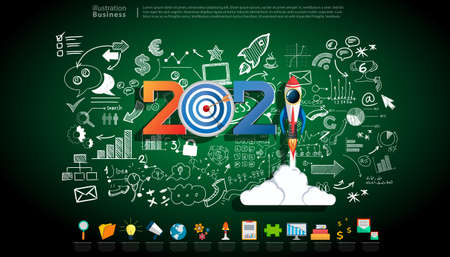 Creative business thinking   with 2021 new year text, Light bulb,darts shoot Into crotch for success,set icon,drawing charts data,modern Idea concept vector illustration Infographic template.  Banque d'images