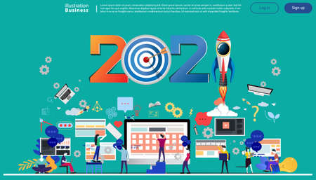 Man and woman think analyze creative   with 2021 new year text, Light bulb,darts shoot Into crotch for success,set icon,drawing charts data,modern Idea concept vector illustration Infographic template. Illustration