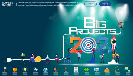 Man and woman think analyze creative   with 2021 Big Projects text, Light bulb,darts shoot Into crotch for success,set icon,drawing charts data,modern Idea concept vector illustration Infographic template. Illustration
