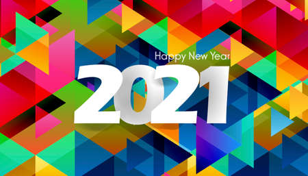Happy New Year  2021 text with Geometric background with colorful shapes Background