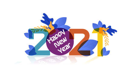 Happy New Year 2021  text,design card, banner,Vector illustration.