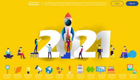 Man and woman think analyze creative   with 2021 new year text,  for success,set icon,modern Idea concept vector illustration Infographic template. Illustration