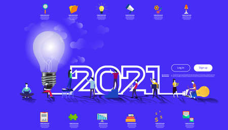 Vector illustration modern design business plan brainstorm think analyze creative  light bulb idea concept with marketing strategy 2021 new year  Infographic template.