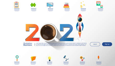 Vector illustration modern design business plan brainstorm think analyze creative coffee cup,rocket marketing strategy 2021 Idea and Concept Vector illustration Infographic template.