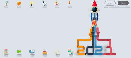 Vector illustration modern design business plan brainstorm think analyze creative Rocket marketing strategy 2021 Idea and Concept Vector illustration Infographic template. Illustration