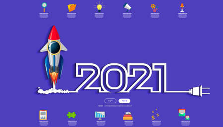 Vector illustration modern design business plan brainstorm think analyze creative  Rocket idea concept with marketing strategy 2021 new year  Infographic template.