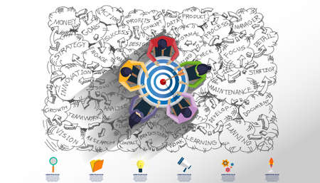 Creative business thinking,darts shoot Into crotch for success,set icon, Plan think analyze creative work, Idea concept vector illustration Infographic template.