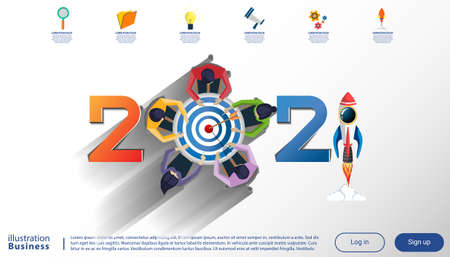 Creative business thinking 2021,darts shoot Into crotch for success,set icon, Plan think analyze creative work, Idea concept vector illustration Infographic template. Illustration