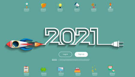 Creative business thinking2021,rocket for success, Plan think analyze creative work, Idea concept vector illustration Infographic template.