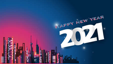 Happy new year  2021  text - Building in the city Colorful -  modern design Idea and Concept  Vector illustration  with fireworks. Illustration