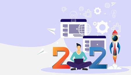 Man  think analyze creative   with 2021 new year for success,modern Idea concept vector illustration Infographic template.