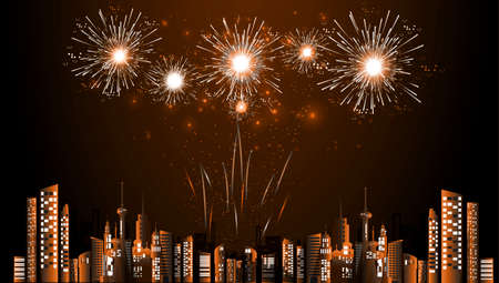 Season Celebrate Happy new year -  Fireworks  - Building in the city- background Vector illustration. Illustration