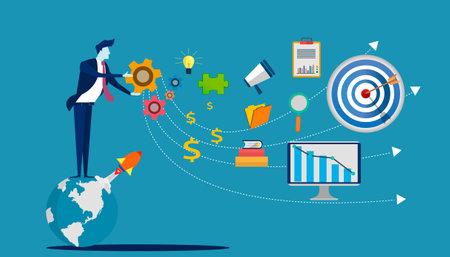 Businessman Idea concept illustration vector,Office Work,light bulb,darts shoot Into crotch for success,set icon,