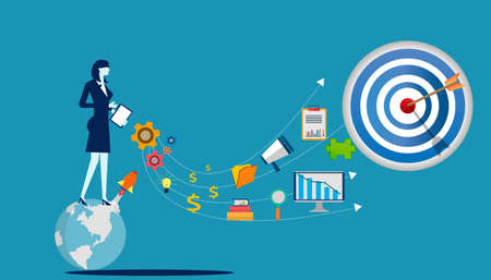Businesslady Idea concept illustration vector,Office Work,light bulb,darts shoot Into crotch for success,set icon.