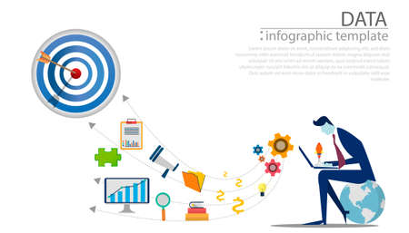 Businessman Idea concept illustration vector,Office Work,light bulb,darts shoot Into crotch for success,set icon,infographic template.