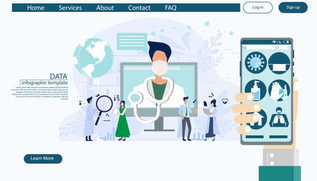 Hand gesture hold and using cellphone,method protection,consulting diagnose covid 2019 a doctor online, telemedicine and online doctor concept illustration Infographics template.