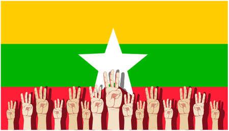 Raise 3 fingers.Demand democracy Myanmar.Banner modern Idea and Concept.