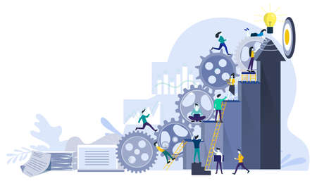Businessman team and Lady running to target with Powered cog flat design creativity Modern design Idea and Concept Vector illustration