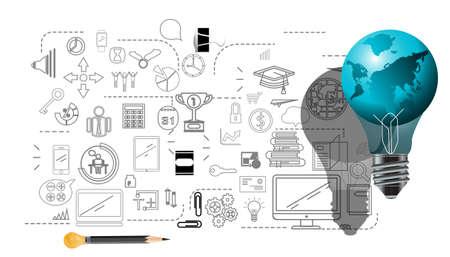 Light bulbs world ,for success,plan,think,search,analyze,communicate, futuristic idea innovation technology modern.vector