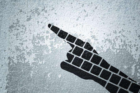 fend: point hand keyboard double exposure Stock Photo