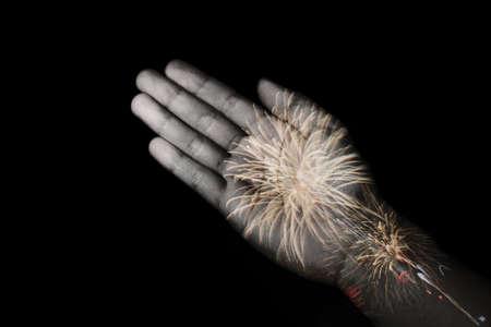 hand double exposure firework