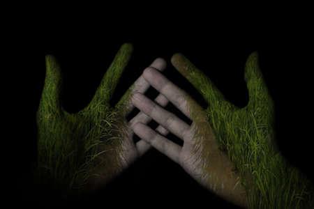 hand double exposure rice