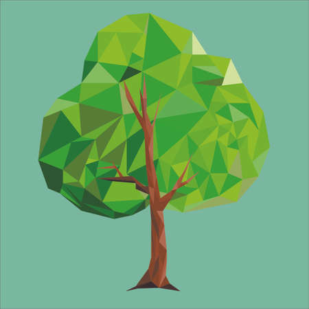 bough: tree low poly green Illustration