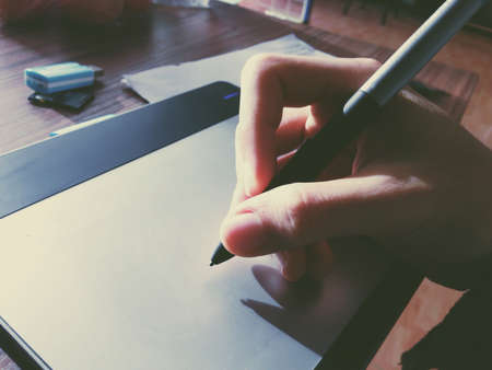 pentablet met zonlicht tekening Stockfoto