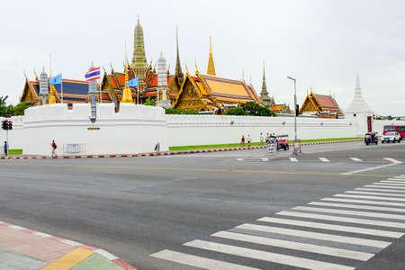 Bangkok, Thailand - August 17, 2018 : Beautiful Grand palace & Wat phra keaw (Wat Phra Sri Rattana Satsadaram) with people (Famous buddhist temple for tourist).