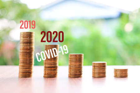 2019 to 2020, Money reduced (not saving) for your current situation (Coronavirus or COVID-19) isolated on nature background - bad economy & economical concept.